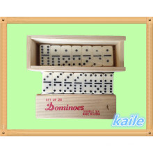 Double 6 domino pack in wooden box