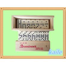 Duplo 6 pacote de dominó em caixa de madeira