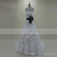 Vintage Princess Sweet Heart Mermaid Boat Neck Ruffle Wedding Gown Black Bow