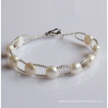 100% Real Freshwater Pearl Bracelet Jewelry (EB1508-1)
