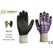 Hppe Shell Nitrile Sandy с покрытием рабочие перчатки безопасности (N9100)
