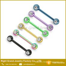 Rainbow Plated Steel Double CZ Gem Fake Barbell Nipple Piercing Jewelry