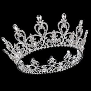 Coração de cristal em forma de coroa completa rodada rainha coroas