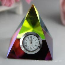 Reloj de cristal / Pirámide de reloj para regalo de decoración del hogar