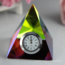 Crystal Clock/Watch Pyramid for Home Decoration Gift