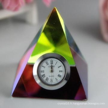 Cristal horloge / montre pyramide pour cadeau de décoration