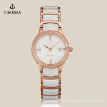 Женщины Кварцевые керамические часы моды часы с Японией движения 71066