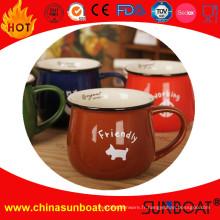 Logo imprimé large-bouche émail tasse / émail Jar tasse de lait