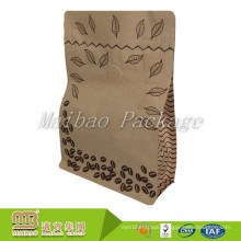 Stand Up Food Packaging Laminated Custom Printing Brown Coffee Bag Paper Kraft With Valve And Ziplock