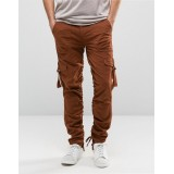 Custom OEM 100% Cotton Twill Breathable Taped Sides Concealed Fly Functional Cargo Pockets Plum Men's Pants