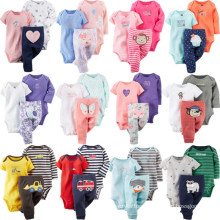 3 PCS Set Clothing Set for Baby Long Sleeve and Short Sleeves Baby Romper with Pants Sets