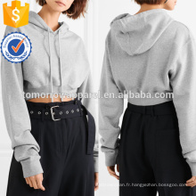 Grey coton recadrée Jersey à capuchon OEM / ODM fabrication en gros de mode femmes vêtements (TA7027H)