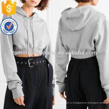 Серый Обрезанное хлопок Джерси с капюшоном Топ OEM/ODM в производство Оптовая продажа женской одежды (TA7027H)
