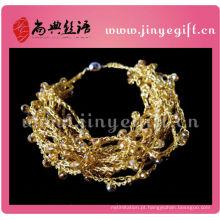 Pulseira de crochê de ouro Hangcrafted de fio de linha brilhantemente colorida