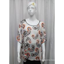 Lady Fashion Paisley Bedrucktes Polyester Chiffon Seide T-Shirt (YKY2223)