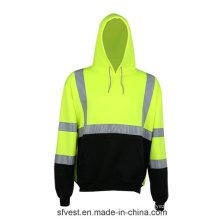 Hoodie de sécurité à manches longues 100% polyester et molleton avec bande réfléchissante