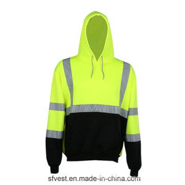 Hoodie de segurança de manga comprida de algodão de poliéster 100% com fita reflexiva