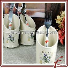 3 Stück Keramik-Oliven-Besteck-Sethalter mit Standfuß