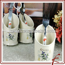 3 piece ceramic olive cutlery set holder with stand