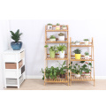 Balcony Floor Standing Bamboo Flower Rack