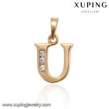 33018 Wholesale English letter U pendant with Indian gold plated for women jewelry