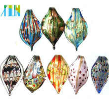Lot Of Mixed Silver Foil Gold Dust Leaf Lampwork Glass Pendants