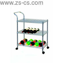 Movable Adjustable Chrome Beverage Service Trolley Cart