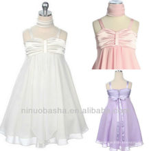 A Line Satin Chiffon Tea Length Pleat Spaghetti Strap Zipper Closure Flower Girl Dress Wedding Gown