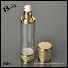 100ml shinning knurled airless bottle/pump bottle for cosmetic lotion