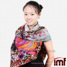 Newest Flower Leopard Print Fashion Stole Shawls 100% Wool Fabric