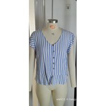 Vente en gros Hauts à rayures bleues pour femmes d'été