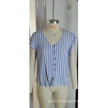 Camiseta de rayas azules en V, manga corta, cintura, camiseta fina de verano para mujer