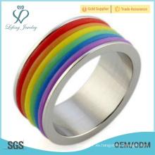 Anillo del orgullo gay de plata del arco iris, joyería lesbiana del orgullo