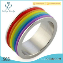Rainbow silver gay pride ring,lesbian pride rings jewelry