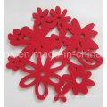 Decoração de Natal quente de Natal Poliéster Sentiu Coaster (Coaster-29)