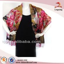 Digital Printed Silk Floral Wedding Wrap Shawl