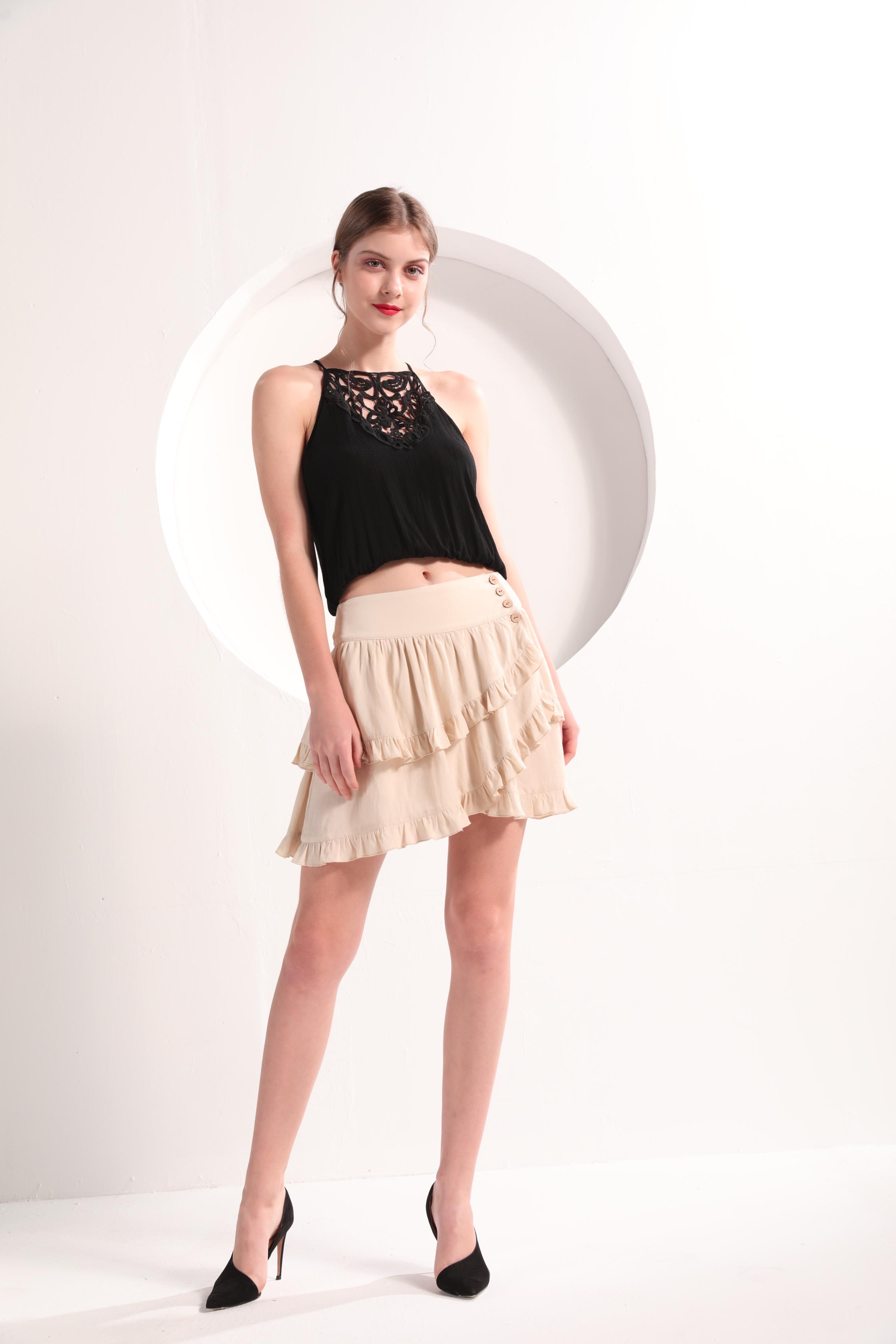 Ladies' Tiered Ruffle-Trim Mini Skirt