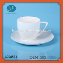 Taza de café de cerámica blanca con platillo, taza de té de cerámica personalizada y platillo, tazas de cerámica con posavasos