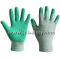 Green Cut Resistant Work Glove with Latex Coating (LD8056)