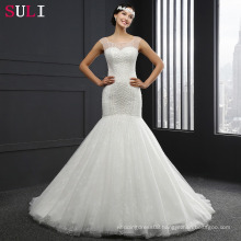Q026 Cheap Long Lace Crystal Backless Mermaid Wedding Dresses 2016