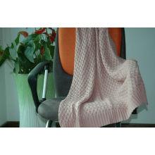 100% Cotton Knit Throw Blanket Decorative / Self Edge Knitted Blanket Throw