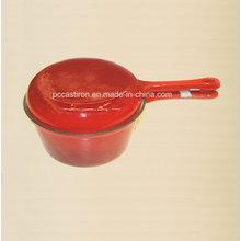 Esmalte de hierro fundido doble uso de la leche con tapa de Frypan