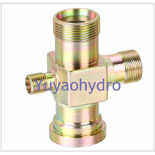 Special Forged Cross Fittings Flange Connection Bite Type Tube