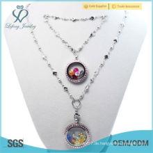 Großhandel Fasion 30mm + 25mm rosa Kristall Silber Runde 316L Edelstahl schwimmenden Medaillons Armbänder Halsketten Schmuck Sets S4