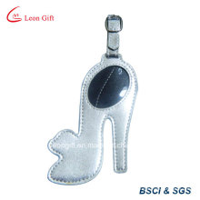 High-Heel Shoe Design Silver PU Leather Luggage Tag