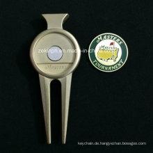 Benutzerdefinierte Zink Legierung hochwertige Golf Reparatur Pitchgabel mit Marker