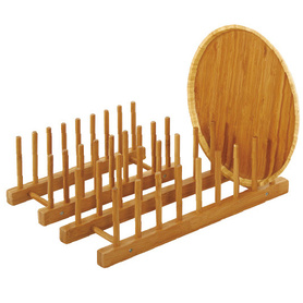 Bamboo Dish Rack Drying Drainer Pot Lid Holder