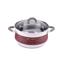 Stainless steel cookware set casserole with colorful pattern