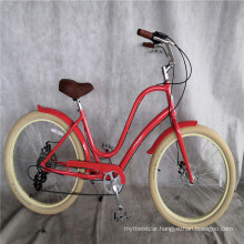 Red Color Aluminum Alloy Frame 6 Speed Factory Directly Sell Lady Beach Cruiser Bike