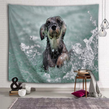 Dog Playing with Water Tapestry Schnauzer Animal Wall Hanging 3D Print Wall Tapestry for Kids Livingroom Bedroom Home Dorm Decor
